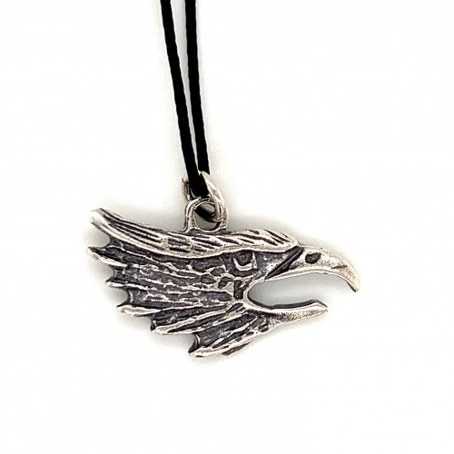 Eagle pendant from oxidized sterling silver, unis...