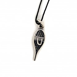 Snow racket shoes pendant from oxidized sterling silver, unisex, hobby collection