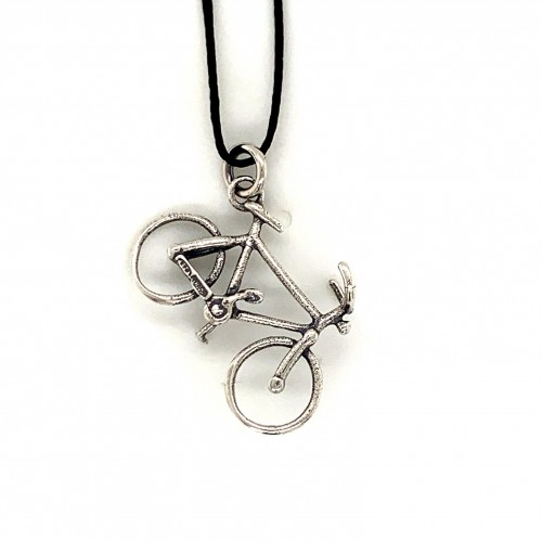 Bicycle pendant from oxidized sterling silver, uni...