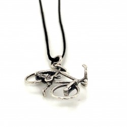 Bicycle pendant from oxidized sterling silver, unisex, hobby collection