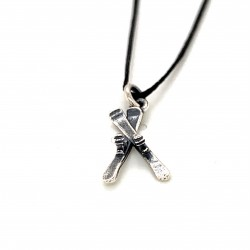 Skier pendant from oxidized sterling silver, unisex, hobby collection