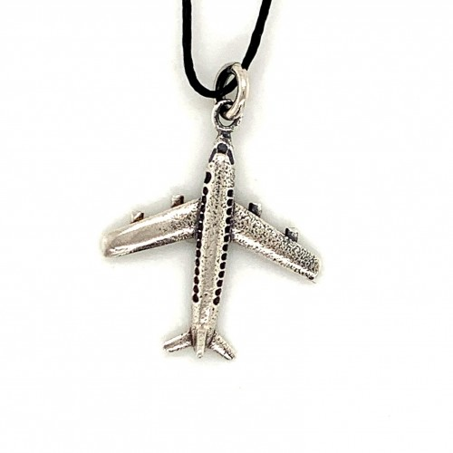 Airplane pendant from oxidized sterling silver, un...