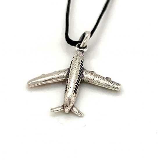 Airplane pendant from oxidized sterling silver, unisex, hobby collection
