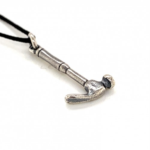 Hammer pendant from oxidized sterling silver, uni...