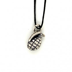 Grenade  pendant from oxidized sterling silver, unisex, hobby collection