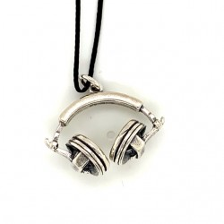 Headphones pendant from oxidized sterling silver, unisex, hobby collection