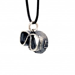 Dive Mask wheel pendant from oxidized sterling silver, unisex, hobby collection