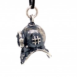 Diving Bell Helmet wheel pendant from oxidized sterling silver, unisex, hobby collection