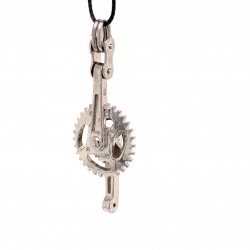Gear knob pendant from oxidized sterling silver, unisex, hobby collection