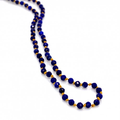 Lapis knotted necklace with 18K gold elements