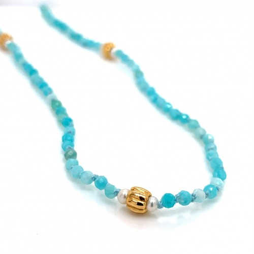 Amazonite and baby Pearls knotted necklace with 18...