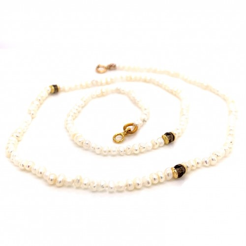 Baby pearls and smokey quartz necklace with 18K go...