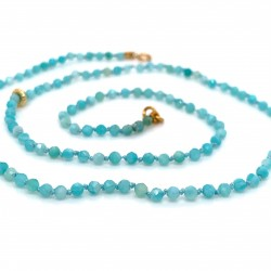 Amazonite knotted necklace with 18K gold elements
