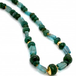 Emerald and Aquamarine knotted necklace with 18K gold elements