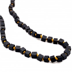 Hematite cube knotted necklace with 18K gold elements