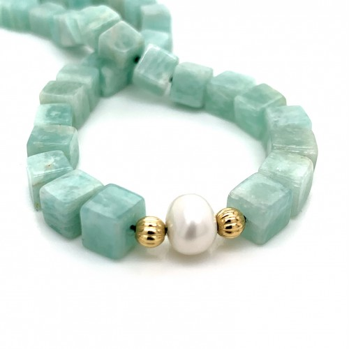 Amazonite and Pearls knotted necklace with 18K gol...