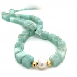 Amazonite and Pearls knotted necklace with 18K gold elements