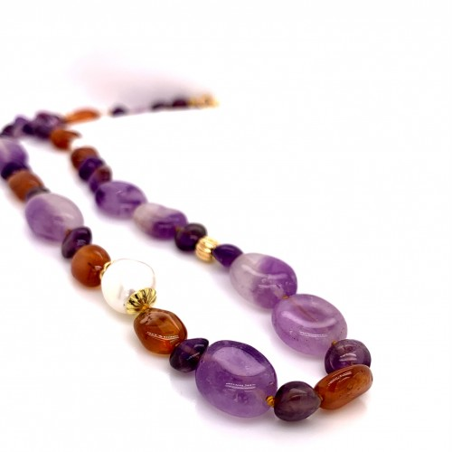 Amethyst & Brandy Citrine knotted necklace wit...