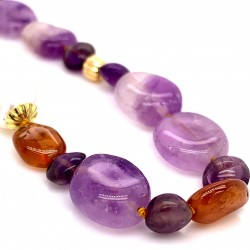Amethyst & Brandy Citrine knotted necklace with 18K gold elements