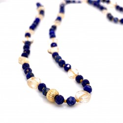 Lapis and Citrine knotted necklace with 18K gold elements