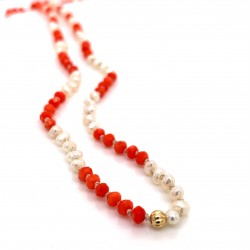 Baby Pearls & Coral knotted necklace with 18K gold elements
