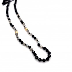 Black Spinel and Labradorite knotted necklace with 18K gold elements