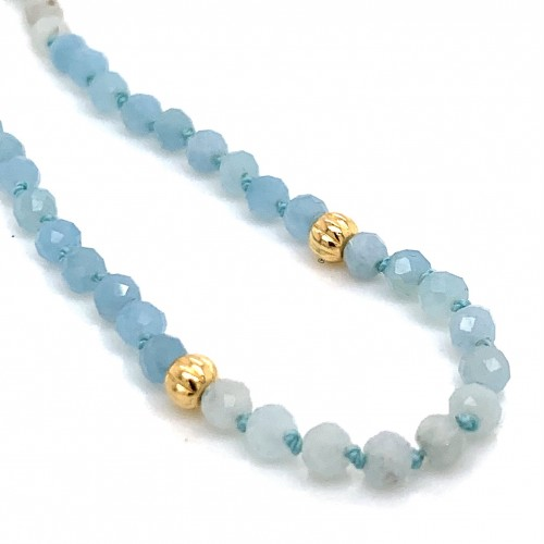 Aquamarine knotted necklace with 18K gold elements
