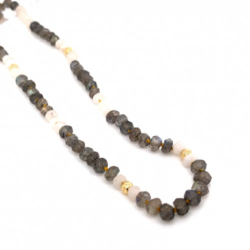 Labradorite and Moonstone knotted necklace with 18...