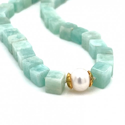 Amazonite knotted necklace with 18K gold elements ...