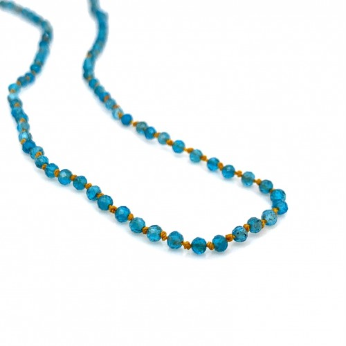 Apatite knotted necklace with 18K gold elements