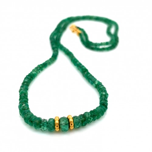 Emerald Rondelle facet cut degrade necklace with 1...