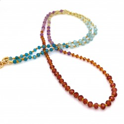 Multistone knotted necklace with 18K gold elements