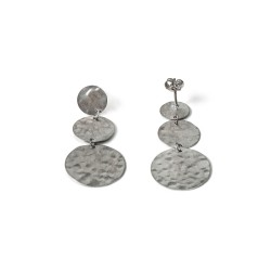 Kyklos, archaic influenced modern coin earrings from sterling silver rhodium plated, code 123