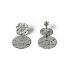 Kyklos, archaic influenced modern coin earrings from sterling silver rhodium plated, code 23
