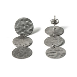 Kyklos, archaic influenced modern coin earrings from sterling silver rhodium plated, code 222