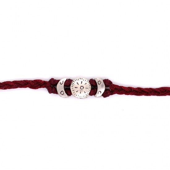 Bracelet with knotted wax cord and 925 silver elements