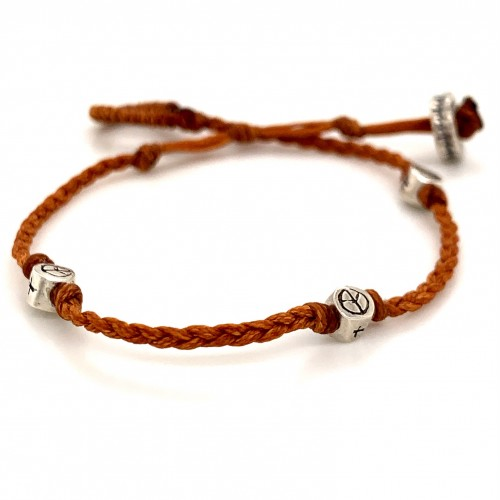 Bracelet with knotted wax cord and 925 silver elem...