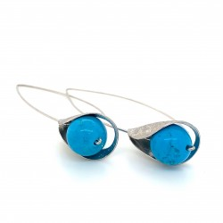 Earrings, long hooked silver with turquoise stone, Lily