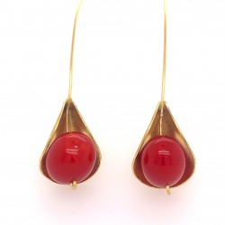 Earrings, long hooked gold plated with coral, Lily