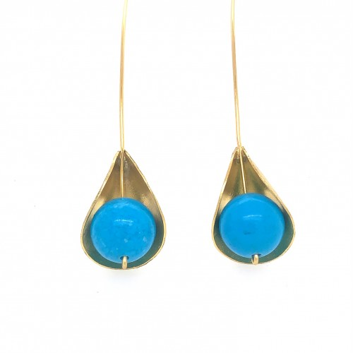 Earrings, long hooked gold plated with turquoise s...