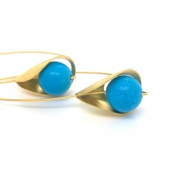 Earrings, long hooked gold plated with turquoise stone, Lily