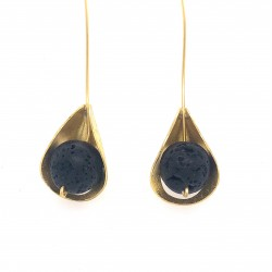 Earrings, long hooked gold plated with lava stone, Lily