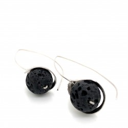 Earrings, long hooked silver with lava stone, Lily