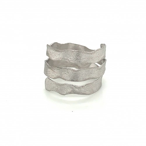 Ring triple spiral, silver, melted