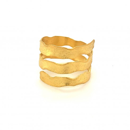 Ring triple spiral, gold, melted