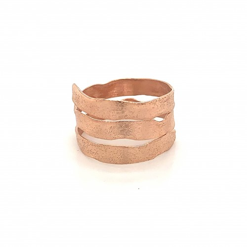 Ring triple spiral, rose gold, melted