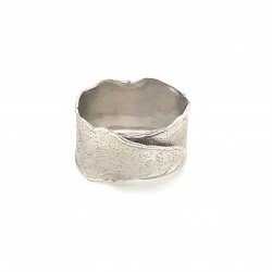Ring, wrap, silver, melted