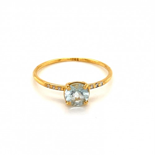 k14 gold ring with Aquamarine and 6 Brilliants