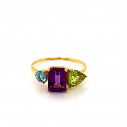 k14 gold ring with 3 stones Blue Topaz Amethyst Peridot