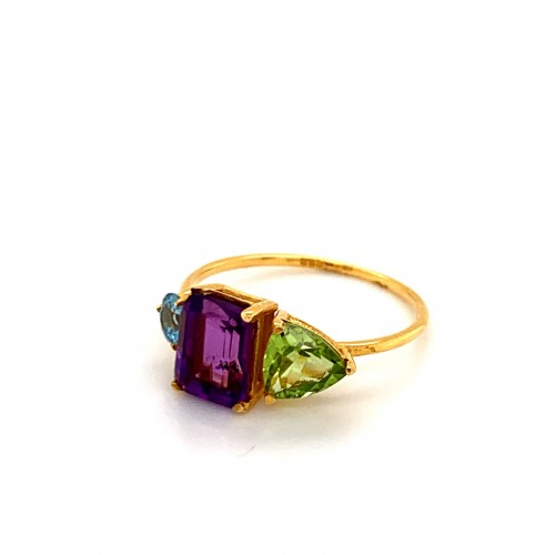 k14 gold ring with 3 stones Blue Topaz Amethyst Pe...